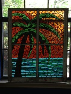 Beautiful palm tree sunset! Handcrafted stained glass mosaic