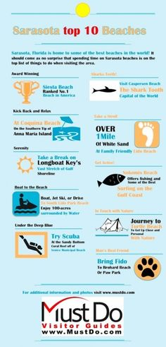 Must Do Sarasota Top 10 Beaches Infographic. See photos and more information about Sarasota's beaches on MustDo.com!