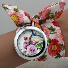 sloggi New design Ladies flower cloth wrist watch fashion women dress watch high quality fabric clock sweet girls watch