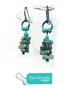 Turquoise Dangle Earrings - Turquoise, Blue, Green Magnasite Gemstones - Hypoallergenic Surgical Steel Ear Wires - Rustic Boho Handmade Beaded Drops - Gift for Women - Earrings for Sensitive Ears from Rhonda Chase Design https://www.amazon.com/dp/B01MTDBHS3/ref=hnd_sw_r_pi_dp_2GbLybXM0B9ED #handmadeatamazon
