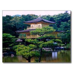 Temple of the Golden Pavilion, #Kyoto, #Japan Postcards Kinkaku-ji (金閣寺 Temple of the Golden Pavilion), also known as Rokuon-ji (鹿苑寺 Deer Garden Temple), is a Zen Buddhist temple in Kyoto, Japan. #GoldLeaf #Gold #Temple