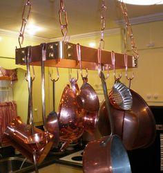 18 X 6 Hanging Solid Copper Pot Rack with 8 by DARRYLSWORKSHOP, $125.00