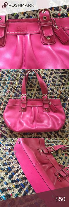 Coach hot pink leather handbag All leather, silver heard ware, brown cloth inside. Slight wear. Good condition. 1 foot across, 4 inches wide, 8 inches tall. Straps in perfect condition. Genuine Coach bag. Coach Bags