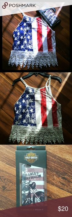 Flag Tank Top w/Flag Harley Davidson Iphone 6 Case Selling as a bundle lightly used flag tank top size small. Crochet bottom trim and straps. Iphone 6 case is new and never used still in original box. Not fit for Iphone 6 plus Tops Tank Tops