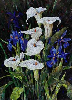 Calla lilies and Irises mosaic.  Wouldn't it be beautiful to have some of these in pots on the deck... flowers that never die...I'd love to make them 3 dimensional...