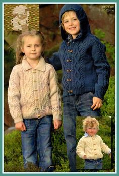 PDF Knitting Pattern For a Childs Aran Jacket  by TheKnittingSheep