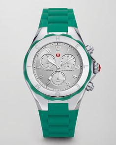 Michele Tahitian Large Jelly Bean Chronograph, Mint Green #NMFallTrends