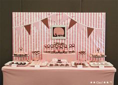 love pink and brown..  pink elephant theme.