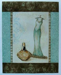 $4.99  Fashion Dress Perfume ART Print Aqua Fashion II Mini BY Sophie Devereux   eBay