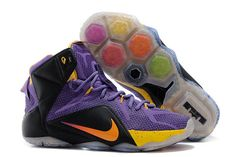 Zoom LeBron James XII Black Purple and Yellow Colorway Mens Nike Shoes Online Sale