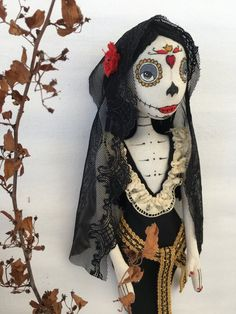 Your place to buy and sell all things handmade Calico Fabric, Skull Painting, Gothic Dolls, World Crafts, Sugar Skull Art, Monster Dolls, Corpse Bride, Voodoo Dolls, Creepy Dolls