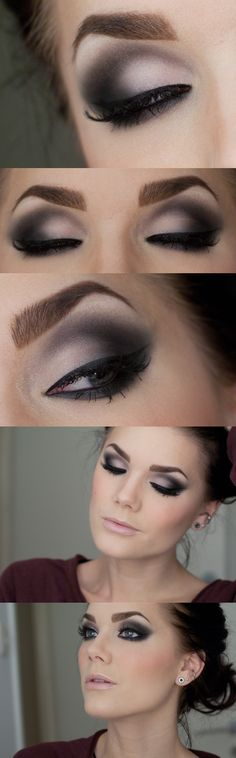 Matte smokey eye. Use Younique matte pigments in Innocent, Vulnerable, Corrupted, Risqué, Glamorous.  don't forget your 3D Lashes!
