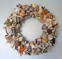 Home Decoration, Awesome Colorful Seashell Wreath Ideas: Beautiful Seashell Wreath Ideas for Appealing Home Decorating