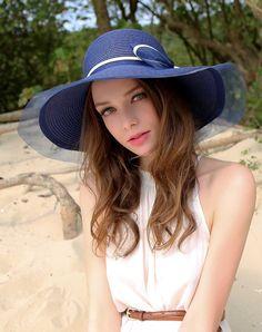 #AdoreWe #VIPme Hats & Caps - Designer Thantrue Dark Blue Elegant Wide Brim Summer Holiday's Floppy Sun Hat - AdoreWe.com
