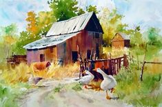 Carl Purcell-art gallery Watercolor Barns, Watercolor Architecture, Watercolor Trees, Watercolor Artists, Watercolor Animals, Watercolor Landscape, Landscape Paintings, Watercolor Paintings, Watercolors