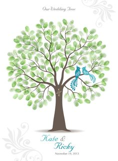 Thumb Print Wedding Tree Guest Book Poster. I think this would be awesome and then we can frame it after.