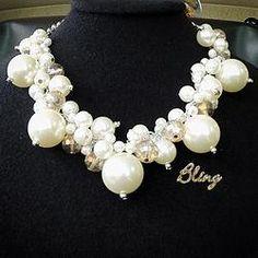 Collar de Perlas con Cristal Color Miel Modelo 0121 $150 www.facebook.com/BlingMx