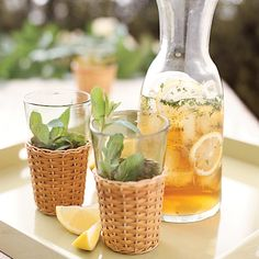 Summer drink recipes include fantastic mojitos and superstar chef Bobby Flay's incredible watermelon-tequila cocktails. Plus more summer drinks. Lemon Iced Tea Recipe, Iced Tea Recipes, Wine Recipes, Summer Drink Recipes, Summer Drinks, Fun Drinks, Watermelon Tequila, Fresco, Mint Simple Syrup