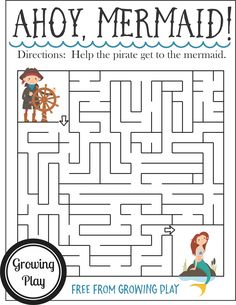 This pirate maze is a fun, visual motor challenge for the pirate loving child as a boredom buster, unplugged time, and pirate birthday parties. Pirate Kids, Pirate Day, Pirate Birthday, Birthday Games, Pirate Theme, Birthday Parties, Birthday Activities, Pirate Party Games, Pirate Activities