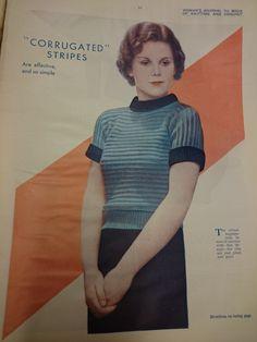 Free 1930's Knitting Pattern - Corrugated Stripes