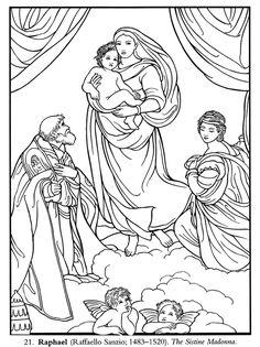 Sistine Madonna (Raphael) coloring page. (Week 14)