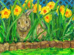 Spring Peek A Boo-  bunny & daffodils-original oil painting- oil on board 9 in x 12 in