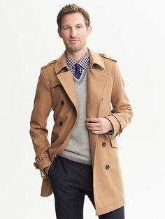 $298, Banana Republic Camel Wool Belted Trench. Sold by Banana Republic. Click for more info: https://lookastic.com/men/shop_items/10461/redirect