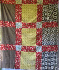 Vintage Quilt Top Mid-Century Retro fabrics Big Blocks Patchwork | Collectibles, Linens & Textiles (1930-Now), Quilts | eBay!