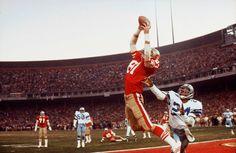 #X26442 San Fran 49ers Dwight Clark (#87) catches the winning TD vs. Dallas Cowboys during the NFC Playoffs; San Fran, CA 1/11/1982