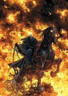 Ghost Rider (Johnny Blaze): to save his father, agreed to give his soul to Mephisto. At night and when around evil, Blaze finds his flesh consumed by hellfire, causing his head to become a flaming skull. He rides a fiery motorcycle and wields trademark blasts of hellfire from his skeletal hands. He eventually learns he has been bonded with the demon Zarathos. Blaze reappeared in this 1990s series. In 2000s comics, Blaze again became the Ghost Rider.