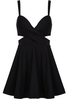 Black Spaghetti Strap Midriff Ruffle Dress pictures