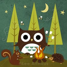 100R Retro Campfire Owl and Friends 6x6 Print by leearthaus, $15.00
