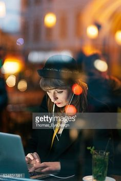 Stock Photo : Woman in Cafe using Technology