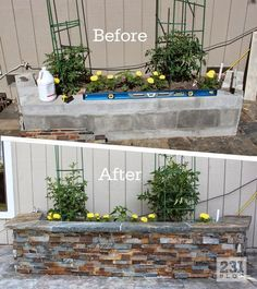 DIY Slate Ledger Stone Planter Boxes with a bench. Boxes built with cinder block and faced with stone, they only look expensive.