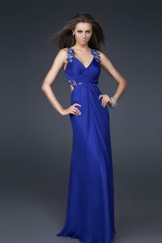 Dramatic 2012 Collection Sheath/Column V Neck Floor Length Chiffon Beading/Sequins Ruffles Handmade Flower