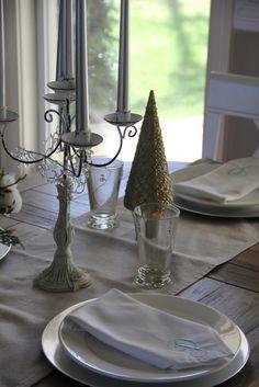 coastal Christmas dining tablescape, monogrammed napkins SSM: Holiday Decorations!