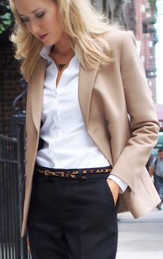 leopard loafers leopard hair belt zara camel double breasted blazer steve madden steven j. News Fashion, Fall Fashion Trends, Autumn Fashion, Office Fashion, Work Fashion, Business Fashion, Business Style, Leopard Loafers, Leopard Belt