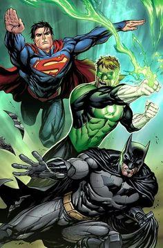 Superman, Green Lantern, and Batman by Tyler Kirkham