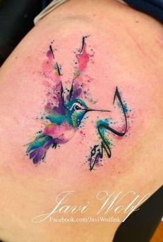 Watercolor hummingbird Tattooed by Javi Wolf