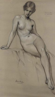 """Study The Kelpie"" - Herbert James Draper Black and white chalk on stone-coloured paper, London, UK {female fine art anatomy drawing 'Study for a bather'} Life Drawing, Drawing Sketches, Art Drawings, Figure Drawings, Sketch 2, Figure Painting, Painting & Drawing, Art And Illustration, Illustrations"