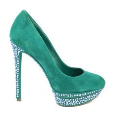 Pre-Owned Brian Atwood Teal Suede Jeweled Platform Pumps ($140) ❤ liked on Polyvore featuring shoes, pumps, green, platform pumps, green suede shoes, suede pumps, high heel shoes and suede shoes