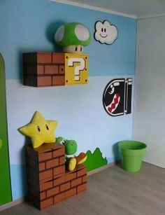 Mario inspired room decor. Super cute. Can totally do this with card board boxes!