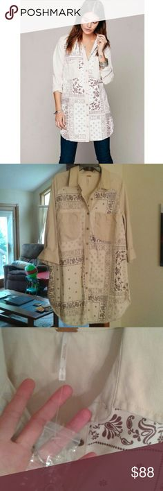Free People Bandana print tunic RARE and Hard to find. Still has button pouch attached, though the actual tag was never attached. Cream and brown. Some of the hem are unfinished, which is intended by Free People. Button front,  long tunic. Price is fairly firm. Free People Tops Tunics