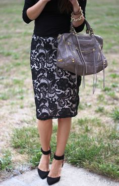 Lace skirt, black, taupe | Love the skirt! Need pumps with a good ankle strap like that too!