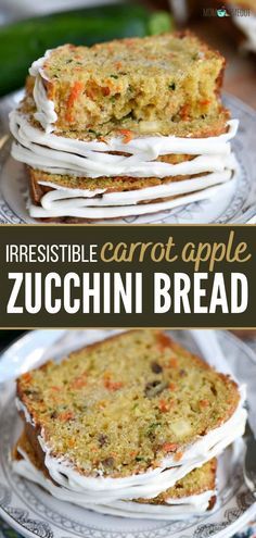 Carrot Zucchini Bread, Zucchini Bread Recipes, Quick Bread Recipes, Apple Recipes, Cooking Recipes, Apple Bread, Apple Zucchini Muffins, Carrot Bread Recipe, Zucchini Cheese