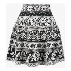 Alexander Mcqueen Jacquard Knit Mini Skirt ($1,200) ❤ liked on Polyvore featuring skirts, mini skirts, floral skirt, floral flare skirt, flared skirt, short skirts and short flared skirt