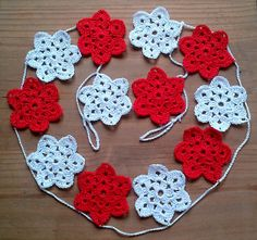 Crochet Star Garlandwhite and red Christmas by Jayneanncrochet