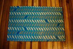 "Floorcloth Rug, Teal/Blue, 24""x36"" Floorcloth ""Rachel"" Design hand painted on Canvas on Etsy, $138.00"