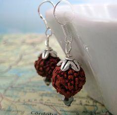 Shanti Rudraksha Bead Earrings on Sterling by moondogtreasures