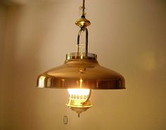Mid Century 1950s Copper Lantern Retractable Pendant Light Fixture Pull Down Tension Pulley